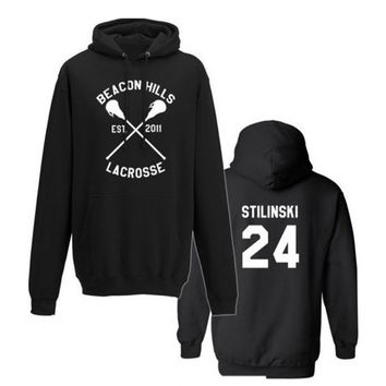 Beacon Hills Lacrosse Logo Wolf Men Women Hooded Hoodies Wolf Stiles Stilinski Teen 14 24 11 Hoody Sweatshirts Pullover