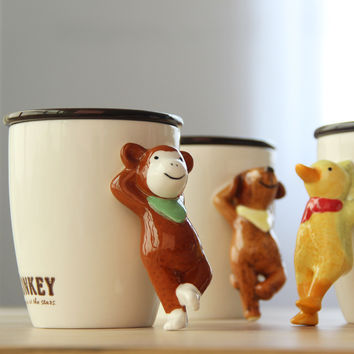 440ml Bone China Ceramics Cartoon 3D Dog Monkey Animal Mug with Lid Office Coffee Cups Lovers Milk Coffee Cereal TeaCup for Gift