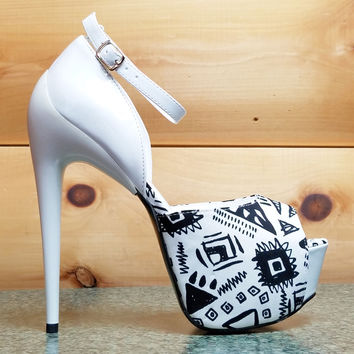 Hot  Night White Black Tribal Print Sleek 6.5 Heel Platform Shoe 7-11