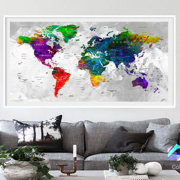 XL Poster Push Pin World Map travel Art Print Photo Paper watercolor Wall Decor Home Office (frame is not included) (P12) FREE Shipping USA!