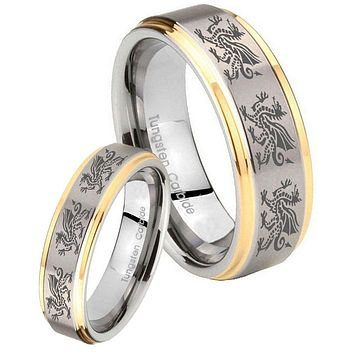 His Hers Step Edge Multiple Dragon 14K Gold 2 Tone Tungsten Wedding Rings Set