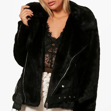 Plus Izzy Fur and PU Trim Aviator Jacket | Boohoo