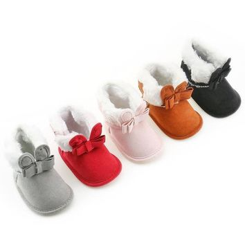 Bunny Bow Newborn Furry Boots