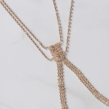 Rhinestone Metallic Body Chain in Gold