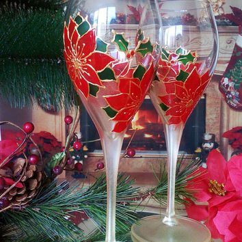 Set of 2 hand painted wine champagne wine glasses Winter poinsettia wedding flutes