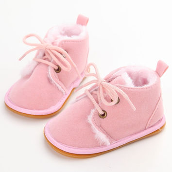 Vintage Anti-skid Baby Girl Snow Boots Winter Warm Thicken Rubber Sole Unisex Infant Cotton Lace-up New Arrival