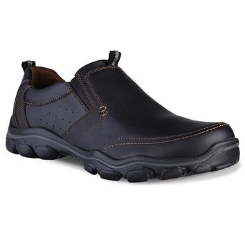 Skechers Relaxed Fit Montz Devent Men's Slip-On Shoes (Black)