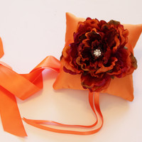 Orange Ring Pillow for Dogs, Wedding Dog Accessory, Ring Bearer Pillow