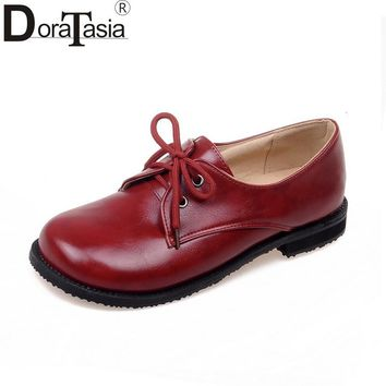 DoraTasia Women's Leisure Comfortable Flat Shoes Woman Vintage Lace Up Rubber Sole Chunky Oxfords Big Size 31-43