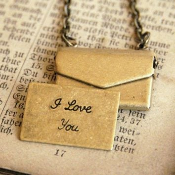 Little Brass Love Letter Necklace by ragtrader on Etsy