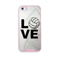 Shawnex Volleyball Love Heart Volleyball Player Pink Plastic iPhone 5 & 5S Case - Fits iPhone 5 & 5S