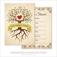 Adoption baby shower invitations with tree and heart - fill in the blanks