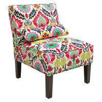Bergman Armless Cotton Chair, Pink/Multi, Accent & Occasional Chairs