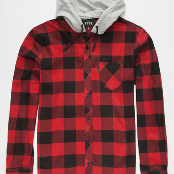 ROOK Bleached Mens Hooded Flannel Shirt   Flannels
