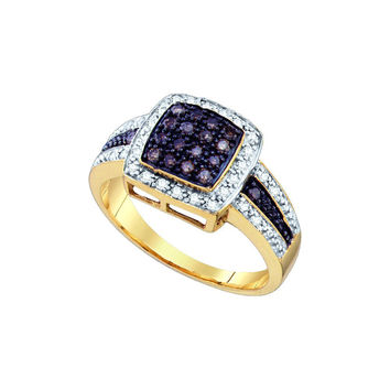 10k Yellow Gold Cognac-brown Colored Diamond Womens Cluster Square-shape Cocktail Ring 1/2 Cttw 65687