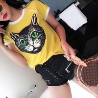 """Gucci"" Women Retro Casual Multicolor Stripe Cat Head Embroidery Short Sleeve T-shirt Top Tee"