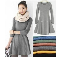 Long Sleeve Wool Dress = 1932044740