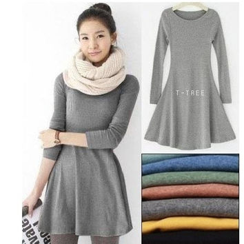 Long Sleeve Wool Dress = 1932617156