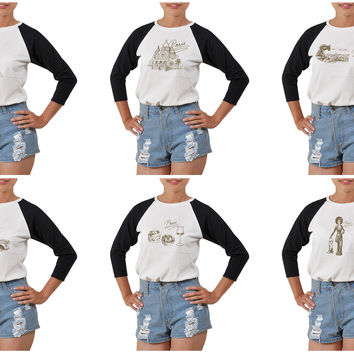 Women's Paris Hand Drawn Printed Elbow Sleeves T- Shirt WTS_03