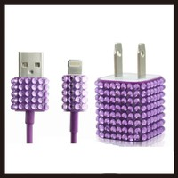 2pc Set Wall Charger + Cable for Iphone 5, 5s - Rhinestone Diamond Bling (Purple)