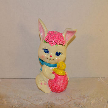 Ceramic Easter Bunny Coin Bank Vintage Rabbit Piggy Bank Easter Bunny Easter Chick Egg Nursery Decor Child's Piggy Bank Rubber Stopper