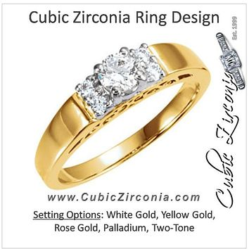 Cubic Zirconia Engagement Ring- The Luanna (0.31 Carat TCW 5-stone Round-Cut with Hand-Engraved Band)