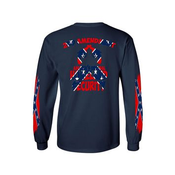 Men's Confederate Rebel Flag Long Sleeve Shirt Americas Original Homeland Security