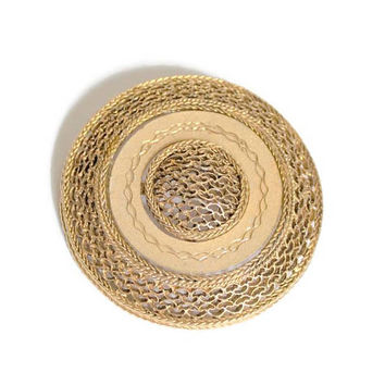 Large Mesh Medallion Brooch Pin In Gold Tone, Scarf Brooch Pin