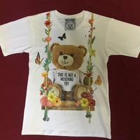 "Moschino White ""Swing Bear"" Fashion Women T Shirt"