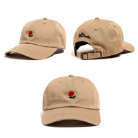 The Hundreds Rose Strap Back Cap Men Women Adjustable Beige Golf Snapback Baseball Hat Casquette