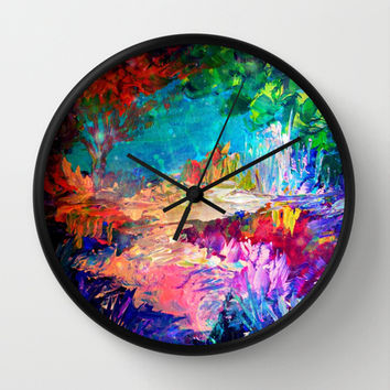 WELCOME TO UTOPIA Bold Rainbow Multicolor Abstract Painting Forest Nature Whimsical Fantasy Fine Art Wall Clock by EbiEmporium