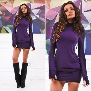 Sexy Women's Bodycon Long Sleeve Short Mini Dress