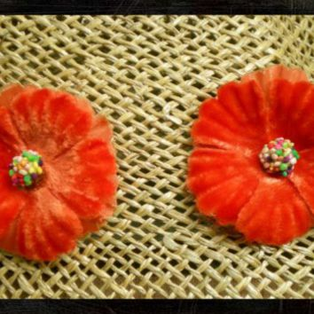 Vintage Velvet Millinery Flower Earrings - Faux Clip-on Earrings
