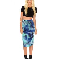 Missguided - Matea Tie Dye Midi Skirt In Blue