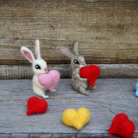 Felt Miniature Bunny Valentine's Art Doll Valentine's rabbit red heart Bunny in love White rabbit Dollhouse  Wool toy rabbit Felt Woodland