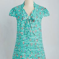 Freelance Spirit Top in Sailboats | Mod Retro Vintage Short Sleeve Shirts | ModCloth.com