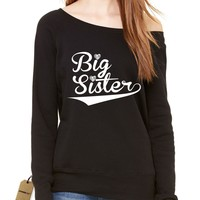 Big Sister Sibling Slouchy Off Shoulder Oversized Sweatshirt