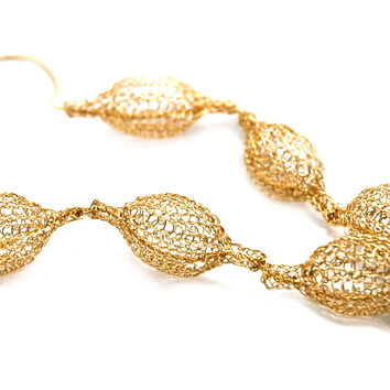 5 Crocheted gold filled organic pod necklace , unique handmade wire crochet jewelry