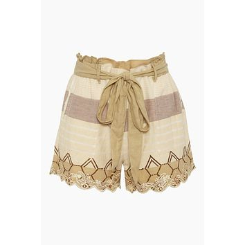Bow Front Cotton Gauze Shorts - Mana Beige