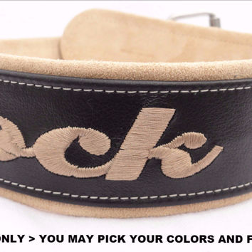 "Dog Collar: Leather w/ Suede - 2"" Wide - Personalized - Adjustable (Sizes from 18-24) Example 2"