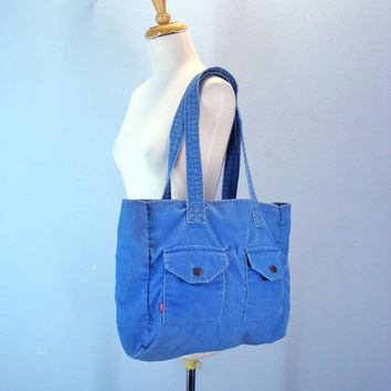 Corduroy Levis Purse Light Blue Levi Tote Bag Boho Hippie Large Bag