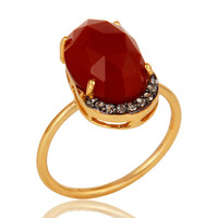 18K Yellow Gold Vermeil Sterling Silver Red Onyx Stackable Ring With CZ