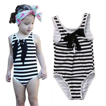 DCCK7N3 2017 Little Girls One-piece Zebra Striped Swimsuit Baby Girl Bowknot Swimwear Swimsuits Bathing Swimming Suit Costume