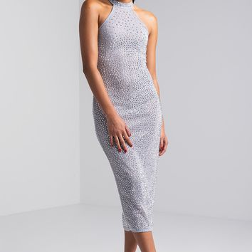 AKIRA Mock Neck Sheer Sleeveless Studded Glitter Midi Dress in Silver