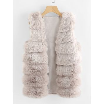 Faux Fur Vest Plain
