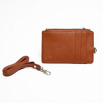 Women ID lanyard RFID ID Holders Slim Card Holder Leather Wallet with Neck Strap