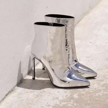 Leather patent Ankle Boots