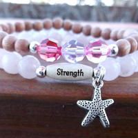 Strength Bracelet, Starfish Bracelet, Rose Quartz, Pink Bracelet, Stacked Bracelet, Swarovski Crystal, Yoga Bracelet, Intention Bracelet