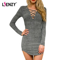 Low Cut Up Bandage Knitted Skinny Dress Long Sleeve Deep V Neck Sexy Hollow Out Cross Spring Club Pencil Dress