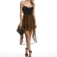Leopard Studded Hi Low Dress